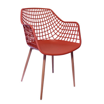 Right Side and Front View: High back Diamond Back Chair in Coral. Mock Wood Vinyl Covered Steel Legs