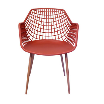 Front View: High back Diamond Back Chair in Coral. Mock Wood Vinyl Covered Steel Legs