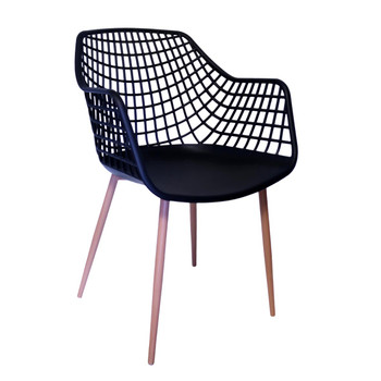 Right Side and Front View: High back Diamond Back Chair in Black. Mock Wood Vinyl Covered Steel Legs