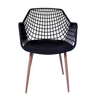 Front View: High back Diamond Back Chair in Black. Mock Wood Vinyl Covered Steel Legs