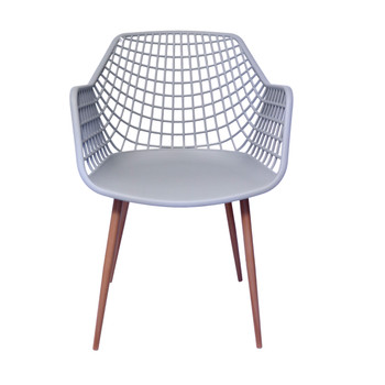 Front View: High back Diamond Back Chair in Grey. Mock Wood Vinyl Covered Steel Legs