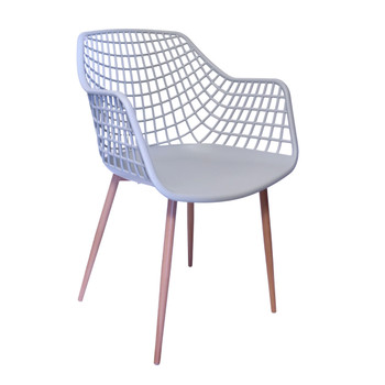 Right Side and Front View: High back Diamond Back Chair in Grey. Mock Wood Vinyl Covered Steel Legs