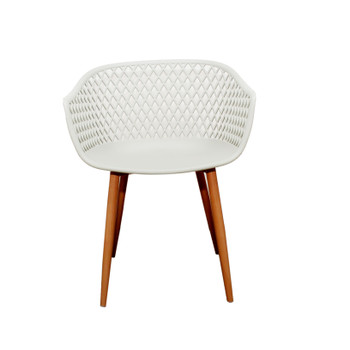 Front View: Diamond Back Chair in Cream. Mock Wood Vinyl Covered Steel Legs
