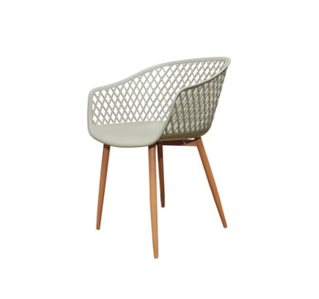 Left Side and Front View: Diamond Back Chair in Cream. Mock Wood Vinyl Covered Steel Legs