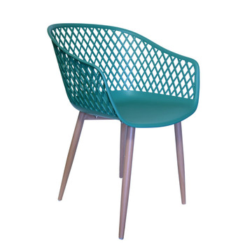 Right Side and Front View: Diamond Back Chair in Dark Green. Mock Wood Vinyl Covered Steel Legs