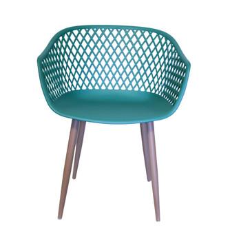 Front View: Diamond Back Chair in Dark Green. Mock Wood Vinyl Covered Steel Legs