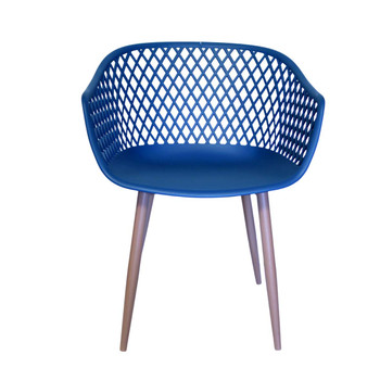 Front View: Diamond Back Chair in Navy Blue. Mock Wood Vinyl Covered Steel Legs