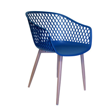 Right Side and Front View: Diamond Back Chair in Navy Blue. Mock Wood Vinyl Covered Steel Legs