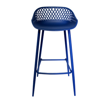 Front View Diamond Back Bar Stool in Navy Blue. Navy Blue Vinyl covered Steel legs
