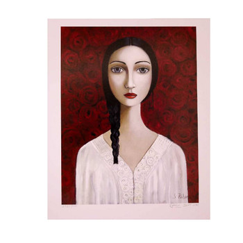 Sandra Pelser Print on cardstock. Black haired braided lady with white shirt on a background of red roses. Unframed with white border.