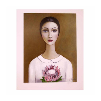 Sandra Pelser Print on cardstock. Black haired lady with light-pink & white shirt holding in Pink King Protea on a brownish background. Unframed with white border.