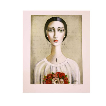 Sandra Pelser Print on cardstock. Black haired lady with white shirt with bouquet of flowers on brownish background. Unframed with white border.