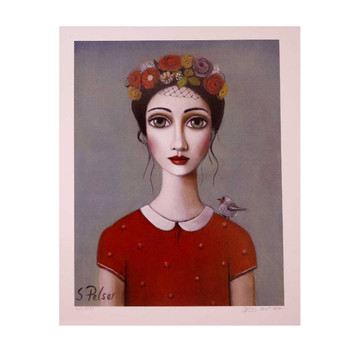 Sandra Pelser Print on cardstock. Black haired lady with red flowers in her hair and red shirt with small bird on left shoulder on grey background. Unframed with white border.