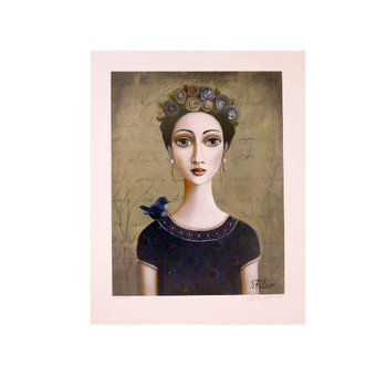 Sandra Pelser Print on cardstock. Black haired lady with flowers in her hair and black shirt with small blue bird on right shoulder on brownish background. Unframed with white border.