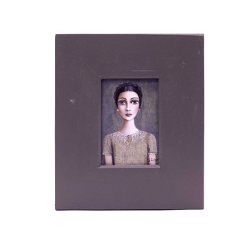 Small Grey Wooden Frame with Print - Dark Braided haired lady with pinkish vintage shirt holding a pink King Protea light brown vintage shirt on Grey Background.