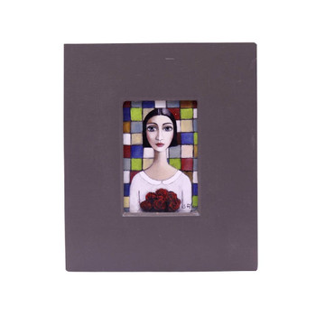 Small Grey Wooden Frame with Print - Dark Short haired lady with pinkish vintage shirt holding a bouquet of red roses on colorful background.