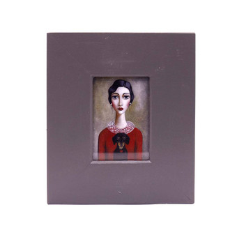 Small Grey Wooden Frame with Print - Dark haired lady with red shirt holding a black Duchshund on a greyish background.