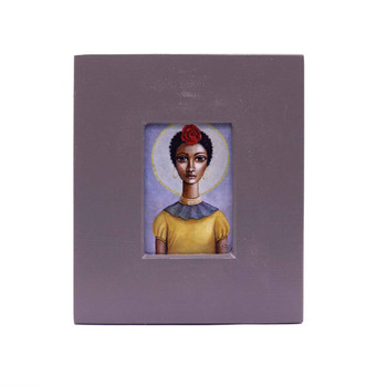 Small Grey Wooden Frame with Print - Dark Short haired dark-skinned lady with Yellow and Blue shirt with a red rose in hair on Blueish grey background.