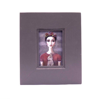 Small Grey Wooden Frame with Print - Dark Braided haired lady with red shirt holding a brown rabbit with flowers in hair on a greyish background.
