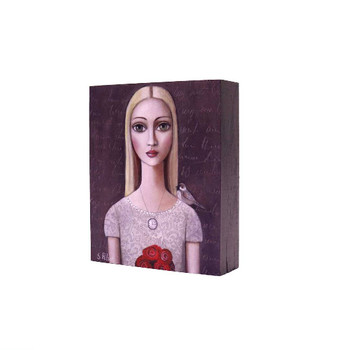 Printed Wooden Block in Grey: Blond long haired lady with flowery white shirt, necklace with vintage clock and bunch of red flowers and small bird on left shoulder on a dark grey background.