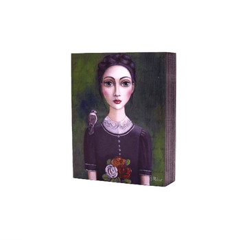 Printed Wooden Block in Grey: Dark haired lady with bunch of colorful flowers and grey bird on right shoulder in a dark vintage dress on dark grey background.