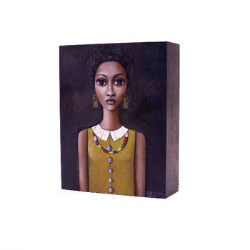 Printed Wooden Block in Grey: Dark skinned lady with black hair and mustard shirt and African Beads on dark grey background.