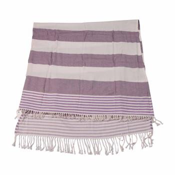 Purple Thick Stripe Turkish Towel