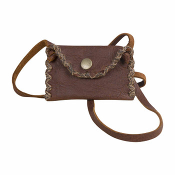 Leather Neck Pouch with Silver button clasp