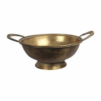 Large Vintage Metal Bowl with handles
