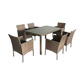 Patio 7pc Steel and Rattan Square Chair Dining Set