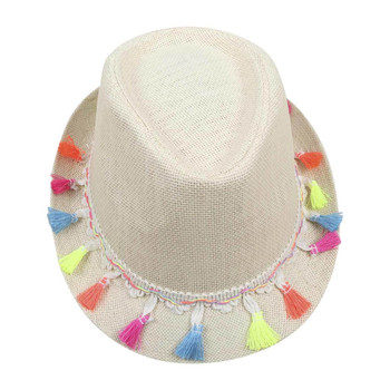 White Fedora with Multi-color Tassels (23x11cm)
