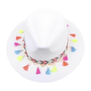 White Wide Brim Knitted Hat with Multi-color Tassels (31x10.5cm)