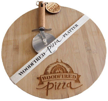 Engraved Bamboo Cutting Board with Pizza Slicer
