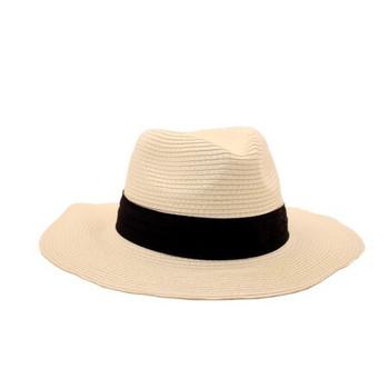 White Wide Brim Knitted Hat (31.5x11.5cm)