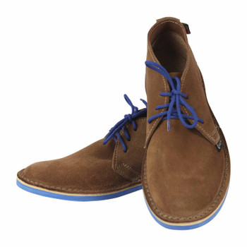 Leather Vellies - Donkey Suede blue soles/laces