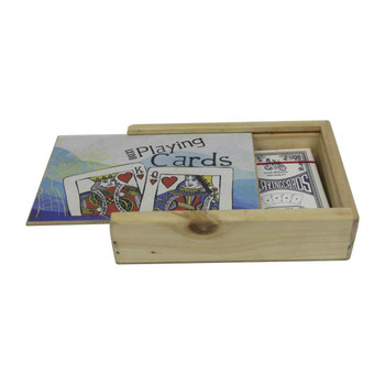 Printed Wooden Cards Box Containing Playing Cards