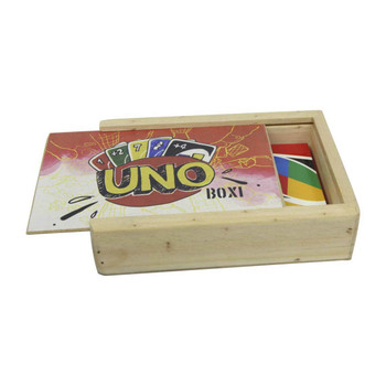 Printed Wooden Uno Box Containing Uno Cards