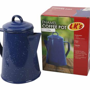 LK's Coffee Pot Blue Enamel