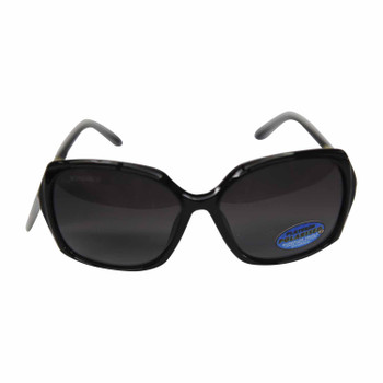 Shiny black frame & Smokey lenses sunglasses gold inlay
