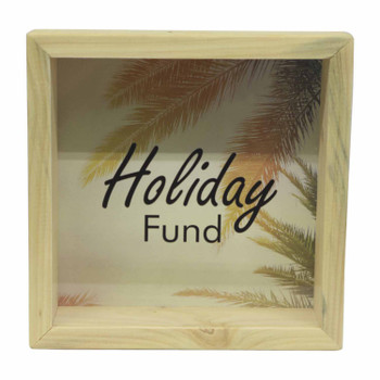 Wooden Money Box with Insert - Holiday Fund