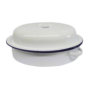 Roaster Enamel Oval 30cm (blue & white)