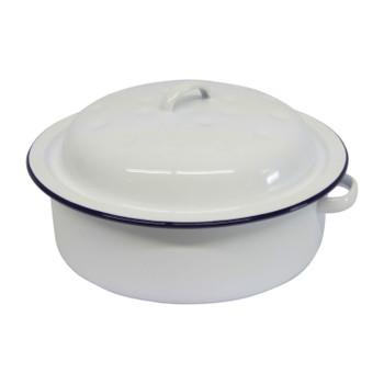 Roaster Enamel Round 20cm (blue & white)