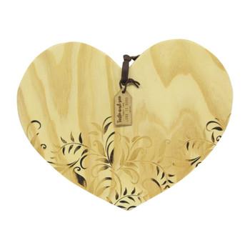 Heart-shaped bamboo platter 43x36cm
