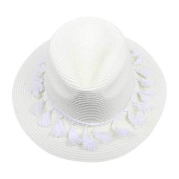 White Wide Brim Knitted Hat with White Tassels (32x12cm)