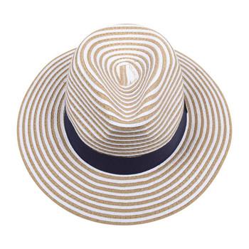 White & Brown Wide Brim Knitted Hat (31x11.50cm)