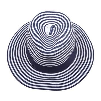 White & Blue Wide Brim Knitted Hat (31x11.50cm)