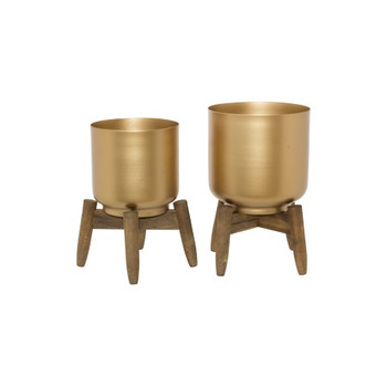 Cleopatra Gold Vases with wooden Stands- Set of 2