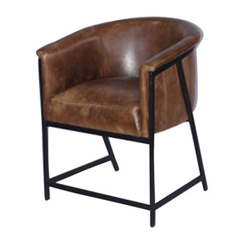 Leather Bucket Chair with Iron Base (62x60x76cm)