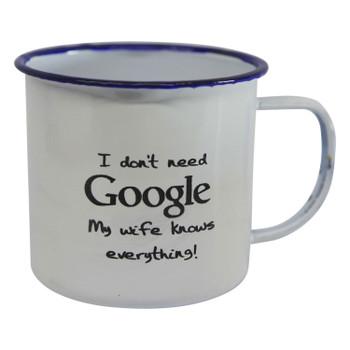 Engraved Enamel Mug - My Wife Knows Everything