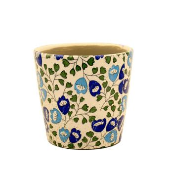 Turquoise & Blue Flower Vine Glazed White Ceramic Pot